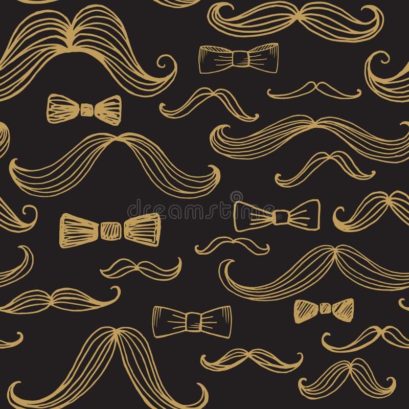 Δεσμός τόξων και άνευ ραφής σχέδιο Moustache επίσης corel σύρετε το διάνυσμα απεικόνισης ελεύθερη απεικόνιση δικαιώματος