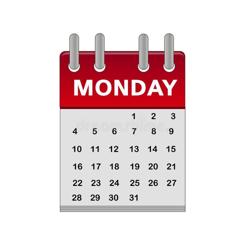 Δευτέρα εικονιδίων ημερολογιακής Δευτέρας ελεύθερη απεικόνιση δικαιώματος