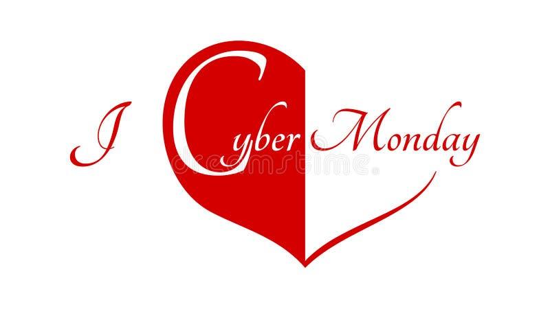 Δευτέρα Cyber - κόκκινη καρδιά σε ένα άσπρες υπόβαθρο και μια περιγραφή: Αγαπώ τη Δευτέρα Cyber διανυσματική απεικόνιση