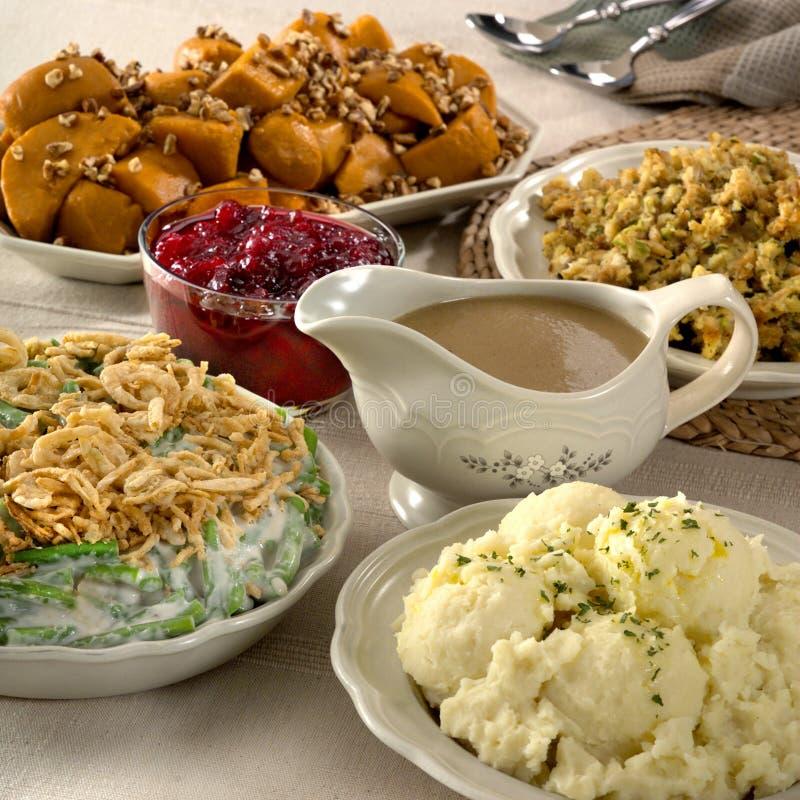 Δευτερεύοντα πιάτα ημέρας των ευχαριστιών στοκ φωτογραφία
