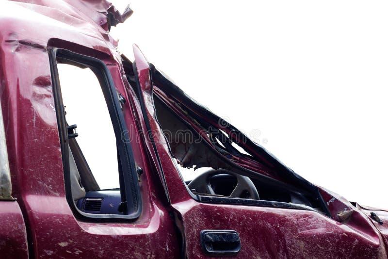 Δευτερεύον κόκκινο αυτοκίνητο πορτών που κατεδαφίζεται στοκ εικόνες με δικαίωμα ελεύθερης χρήσης