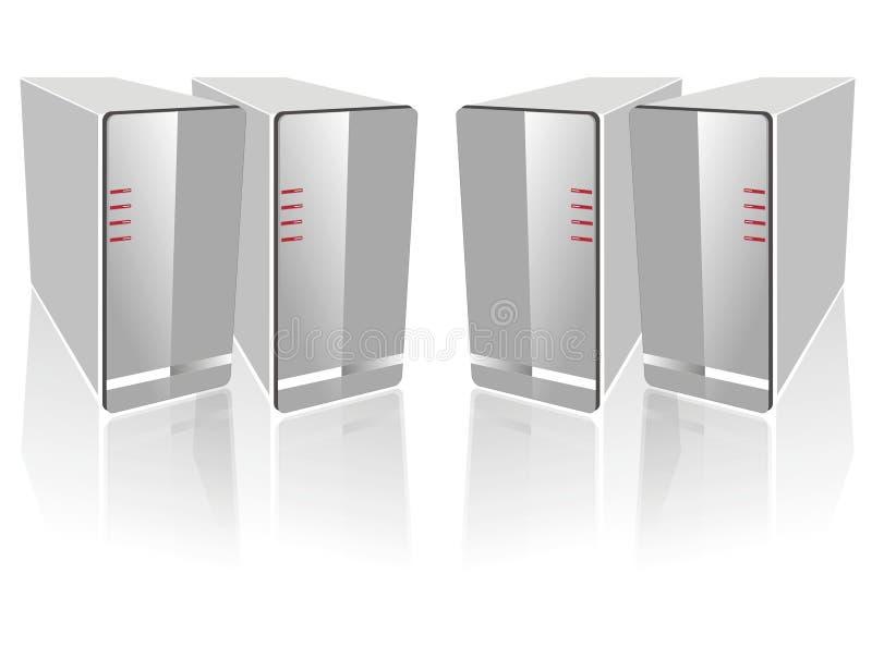 δευτερεύον λευκό τεσσάρων κεντρικών υπολογιστών διανυσματική απεικόνιση