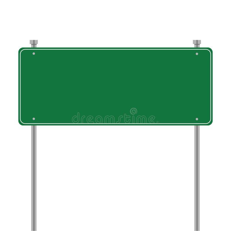 Δευτερεύον οδικό κενό πράσινο σημάδι Διανυσματικό πρότυπο για το σχέδιό σας Πρότυπο σημαδιών με την κενή θέση για το κείμενο Απει ελεύθερη απεικόνιση δικαιώματος