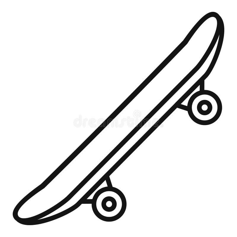 Δευτερεύον σύγχρονο skateboard εικονίδιο, ύφος περιλήψεων ελεύθερη απεικόνιση δικαιώματος