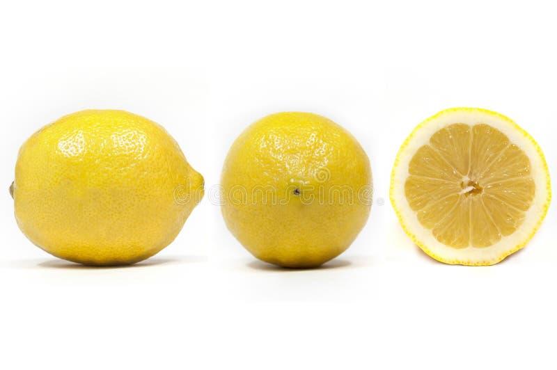 Δευτερεύουσα άποψη μετώπων και τμημάτων ενός λεμονιού στοκ φωτογραφία