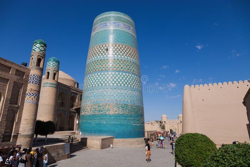 Δευτερεύων μιναρές Kalta σε Khiva, περιοχή Khorezm, του Ουζμπεκιστάν στοκ φωτογραφίες με δικαίωμα ελεύθερης χρήσης