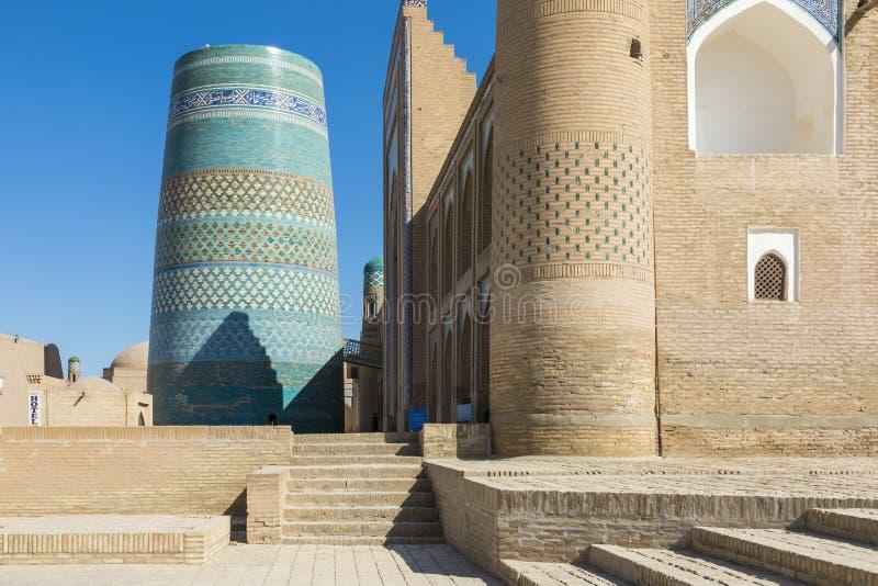 Δευτερεύων μιναρές Kalta σε Khiva, περιοχή Khorezm, του Ουζμπεκιστάν στοκ εικόνα με δικαίωμα ελεύθερης χρήσης