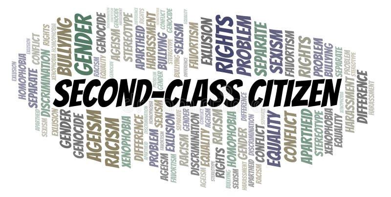 Δεύτερης κατηγορίας πολίτης - τύπος διάκρισης - σύννεφο λέξης ελεύθερη απεικόνιση δικαιώματος