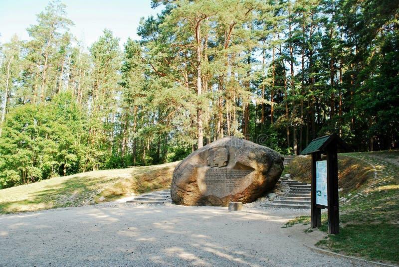 Δεύτερος μεγαλύτερος βράχος στην περιοχή Anyksciai της Λιθουανίας Puntukas στοκ φωτογραφία