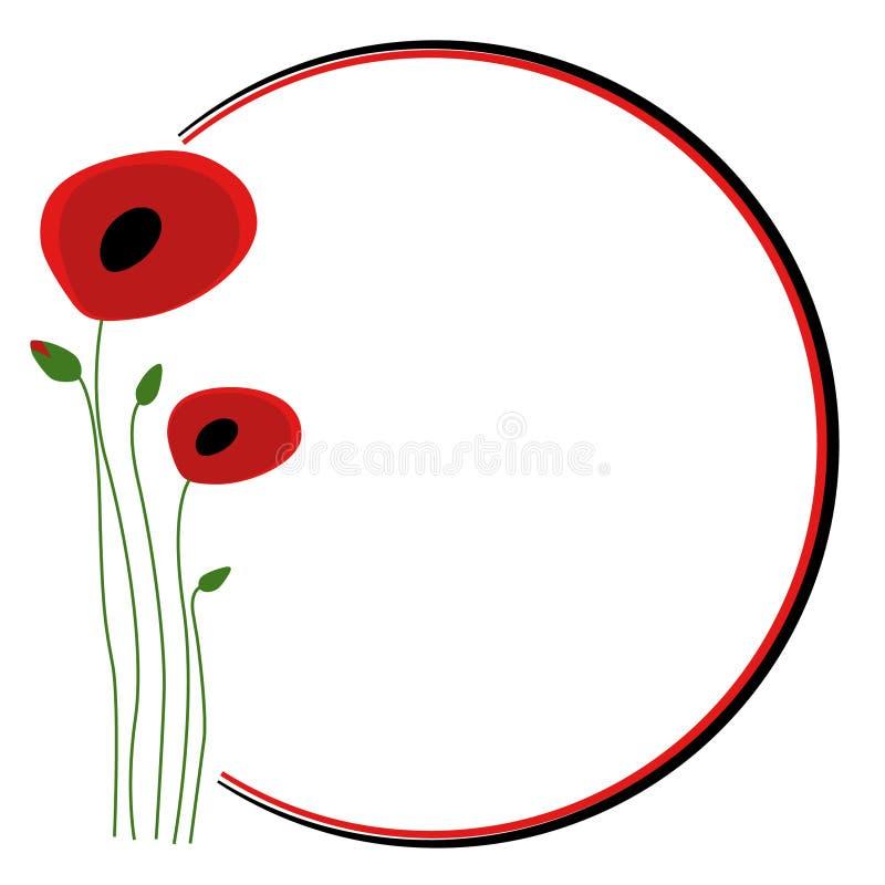 Δεύτερος Παγκόσμιος Πόλεμος, υπόβαθρο λουλουδιών παπαρουνών διανυσματική απεικόνιση