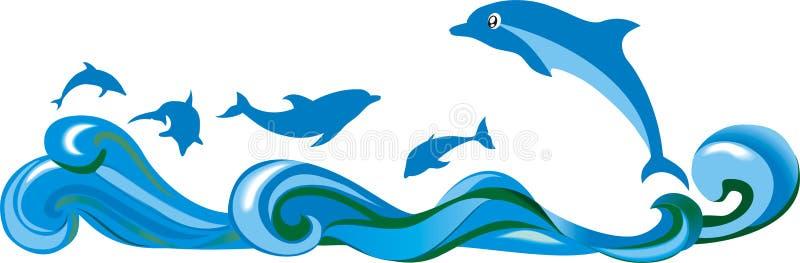 Δελφίνια και θάλασσα άλματος απεικόνιση αποθεμάτων