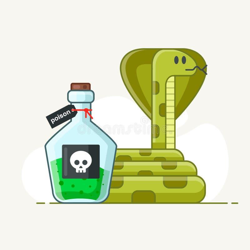 Δηλητηριώδες φίδι σε ένα άσπρο υπόβαθρο φιάλη με ελεύθερη απεικόνιση δικαιώματος