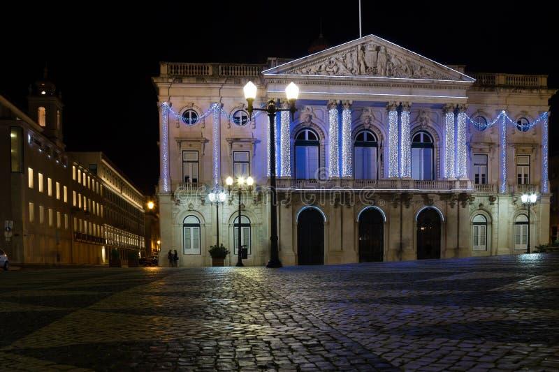 Δημαρχείο τη νύχτα. Λισσαβώνα. Πορτογαλία στοκ φωτογραφία