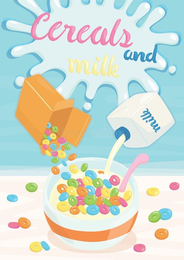 Δημητριακά και αφίσα γάλακτος ελεύθερη απεικόνιση δικαιώματος
