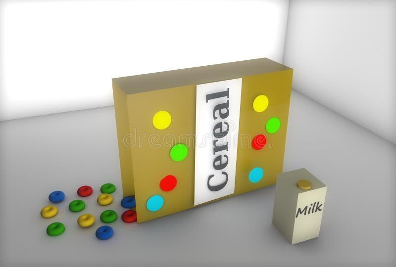 Δημητριακά και γάλα με το τρισδιάστατο σχήμα απεικόνιση αποθεμάτων