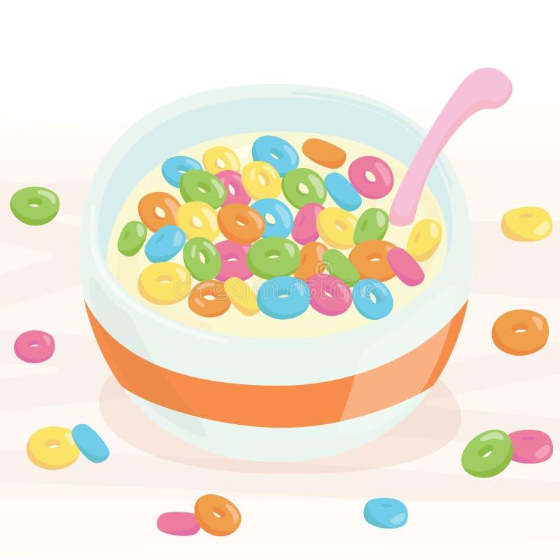 Δημητριακά και γάλα στο κύπελλο διανυσματική απεικόνιση