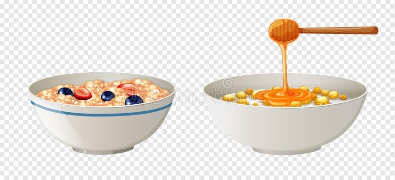 Δημητριακά και μέλι στα κύπελλα ελεύθερη απεικόνιση δικαιώματος