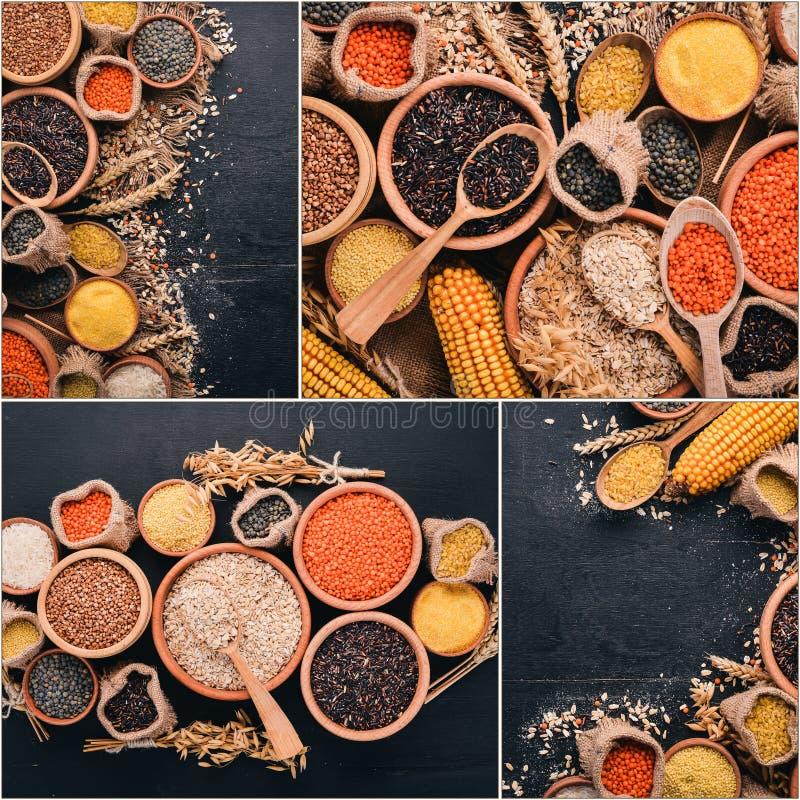 Δημητριακά και όσπρια κολάζ φωτογραφιών στοκ εικόνες