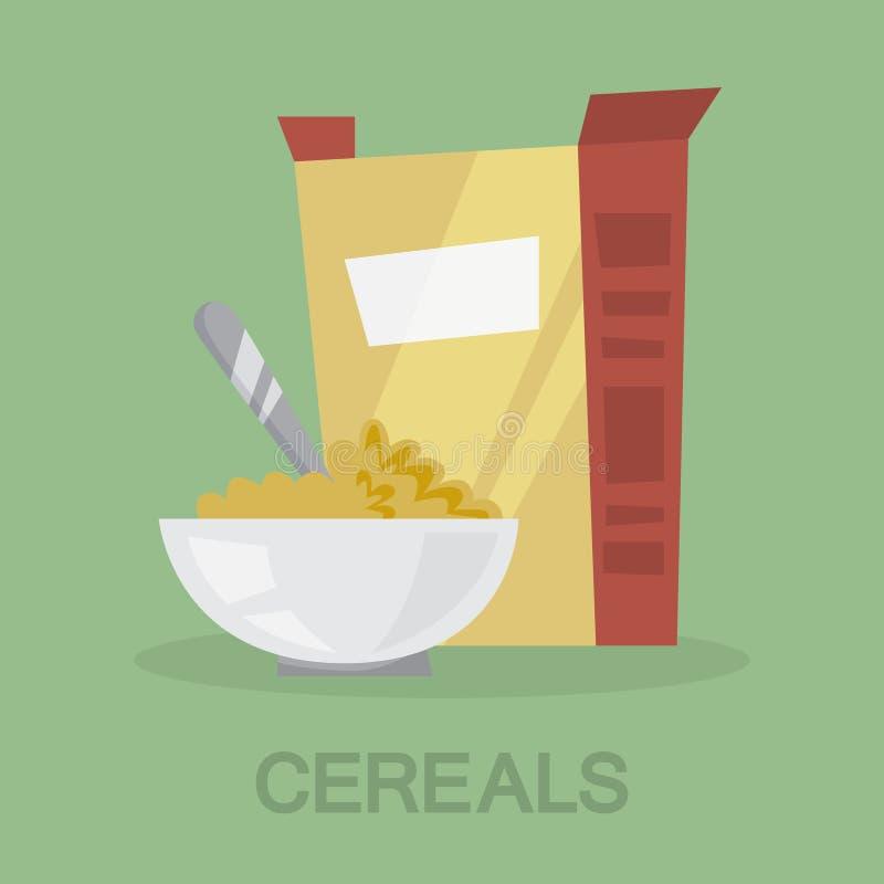 Δημητριακά με το γάλα για ένα υγιές πρόγευμα απεικόνιση αποθεμάτων