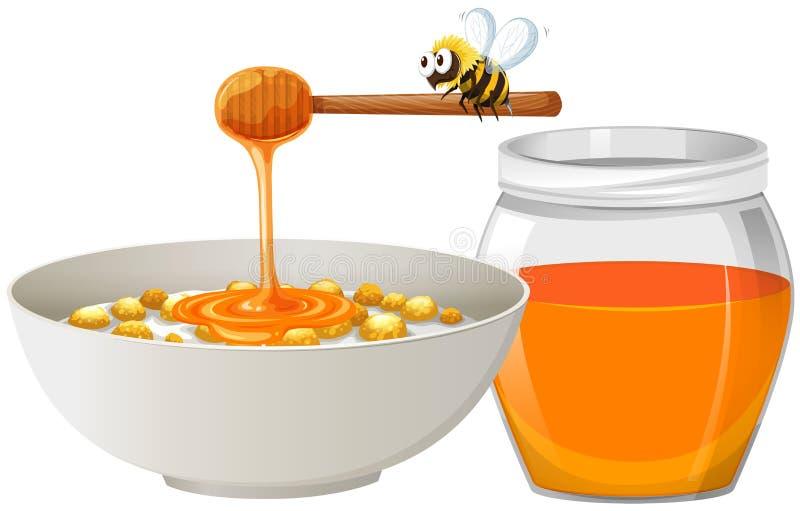 Δημητριακά με το μέλι στο κύπελλο διανυσματική απεικόνιση