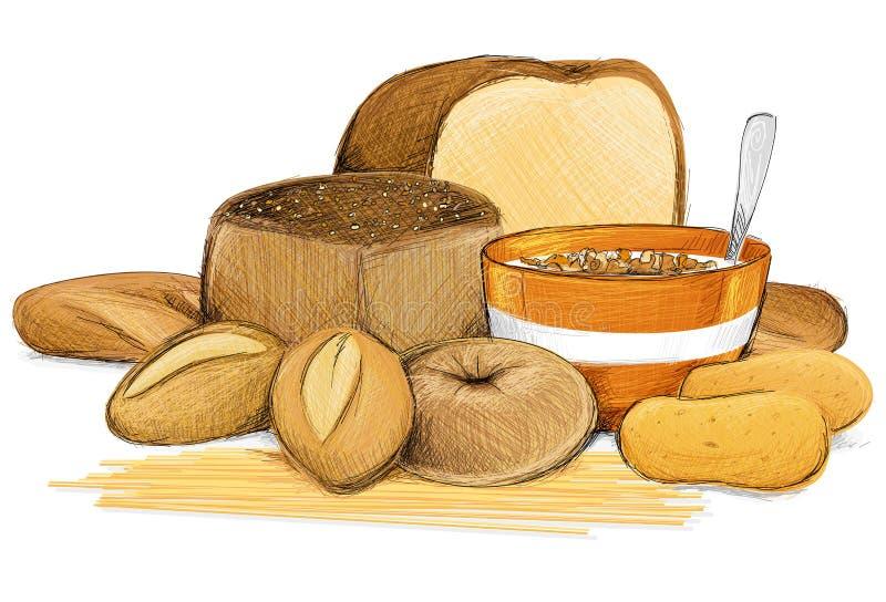 Δημητριακά στο λευκό απεικόνιση αποθεμάτων