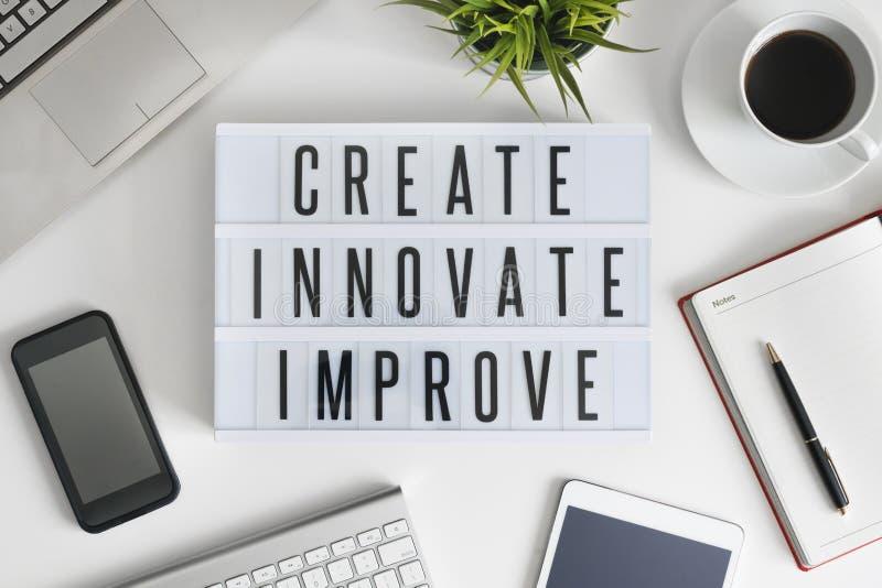Δημιουργήστε, καινοτομήστε και βελτιωθείτε στοκ φωτογραφίες