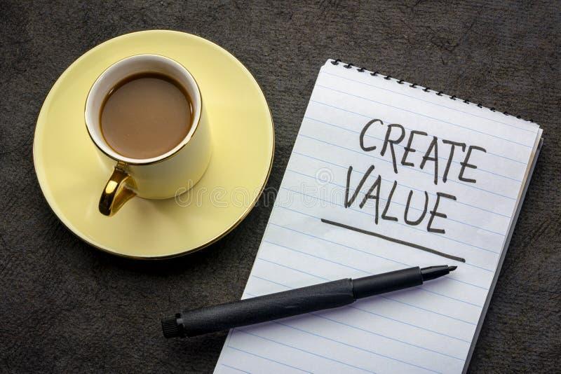 Δημιουργήστε τη γραφή αξίας στοκ εικόνα