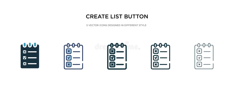 Δημιουργία εικονιδίου κουμπιού λίστας σε διαφορετική εμφάνιση διανυσματικού στυλ δύο έγχρωμα και μαύρα εικονίδια κουμπιού δημιουρ απεικόνιση αποθεμάτων