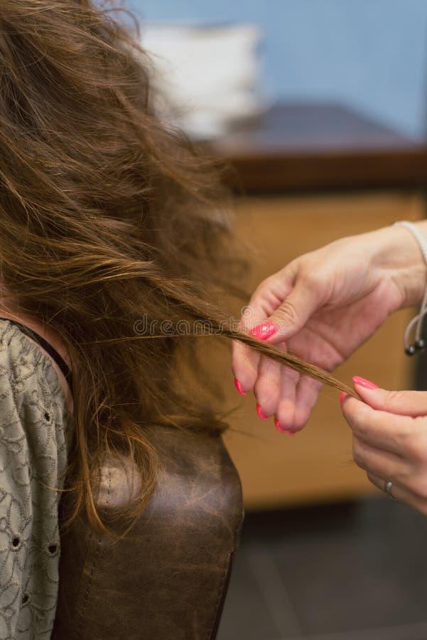 δημιουργία hairstyles στην καφετιά καφετιά τρίχα στο σαλόνι Δημιουργία των μπουκλών στον κομμωτή στοκ εικόνα με δικαίωμα ελεύθερης χρήσης