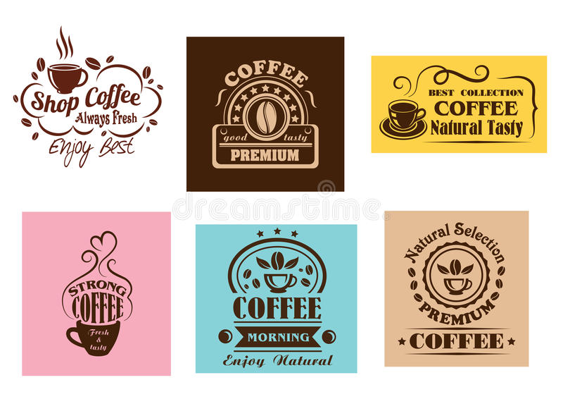 Δημιουργικά γραφικά σχέδια ετικετών καφέ απεικόνιση αποθεμάτων