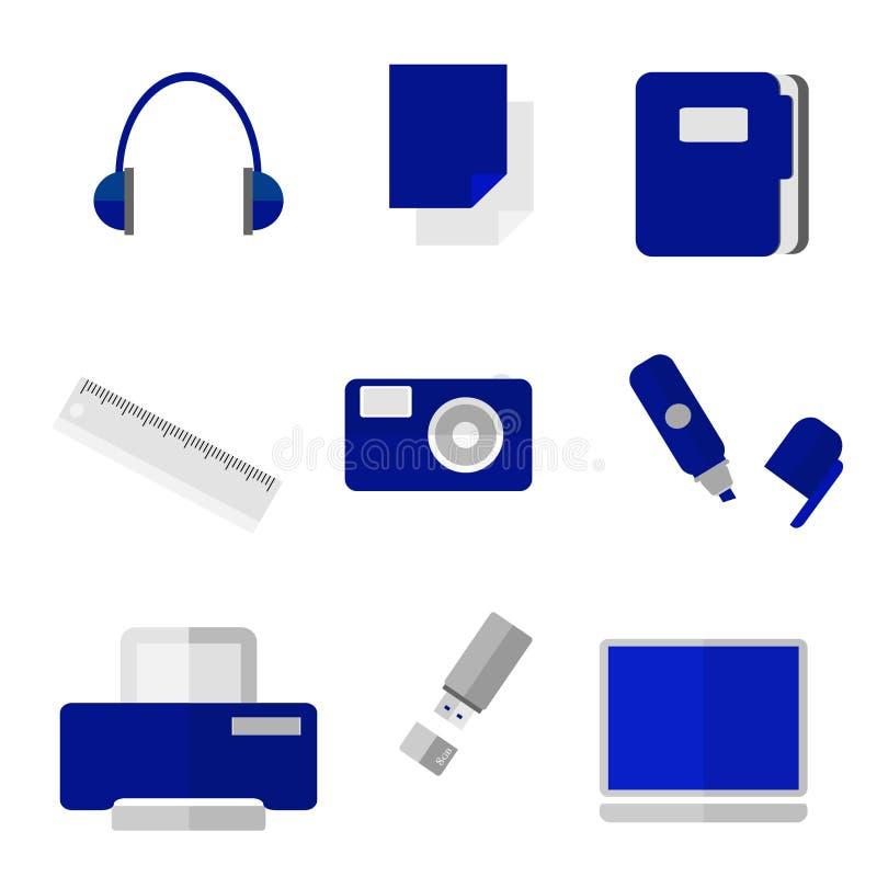 Δημιουργικά διανυσματικά αντικείμενα γραφείων απεικόνιση αποθεμάτων