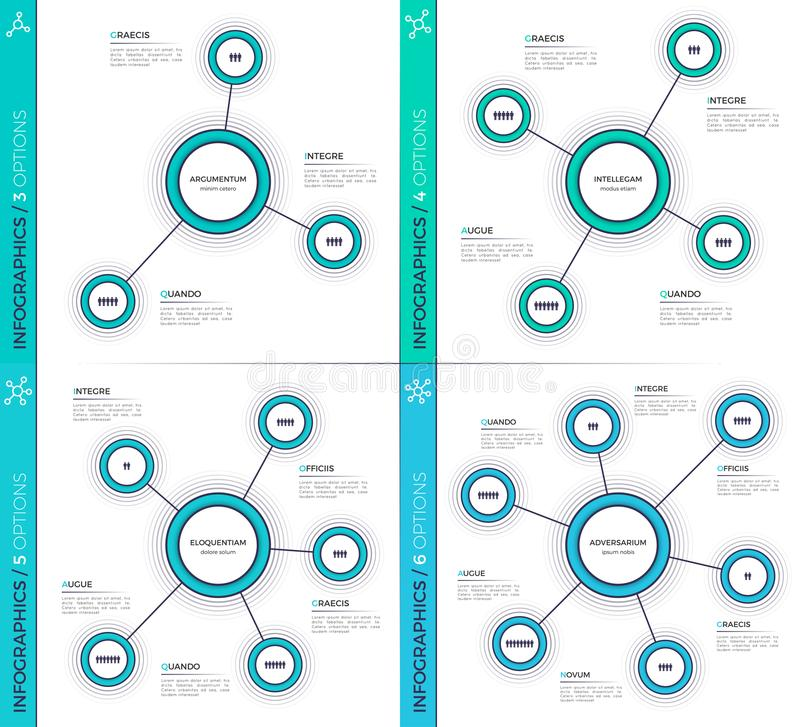 Δημιουργικά 3-6 infographic διαγράμματα Minimalistic, σχέδια, σχέδια διανυσματική απεικόνιση