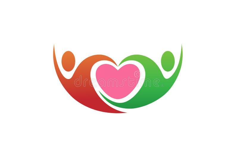 Δημιουργικές αφηρημένες ζεύγος και καρδιά μέσα στο λογότυπο συμβόλων απεικόνιση αποθεμάτων