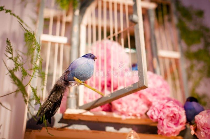 Δημιουργικές διακοσμήσεις γαμήλιων τόπων συναντήσεως με τα πουλιά που εγκαθιστούν στο δέντρο στοκ εικόνα