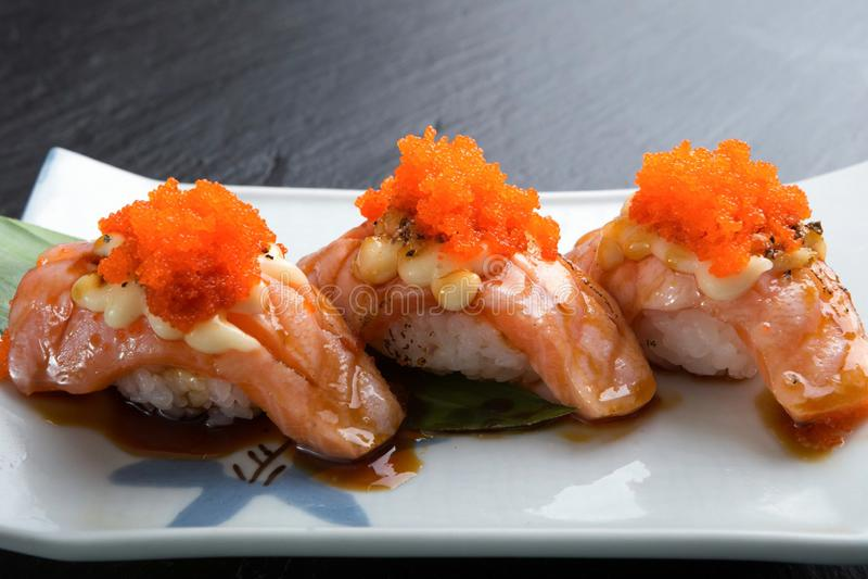 Δημιουργικές ιαπωνικές επιλογές τροφίμων, σχάρα του Simon σουσιών στοκ εικόνα