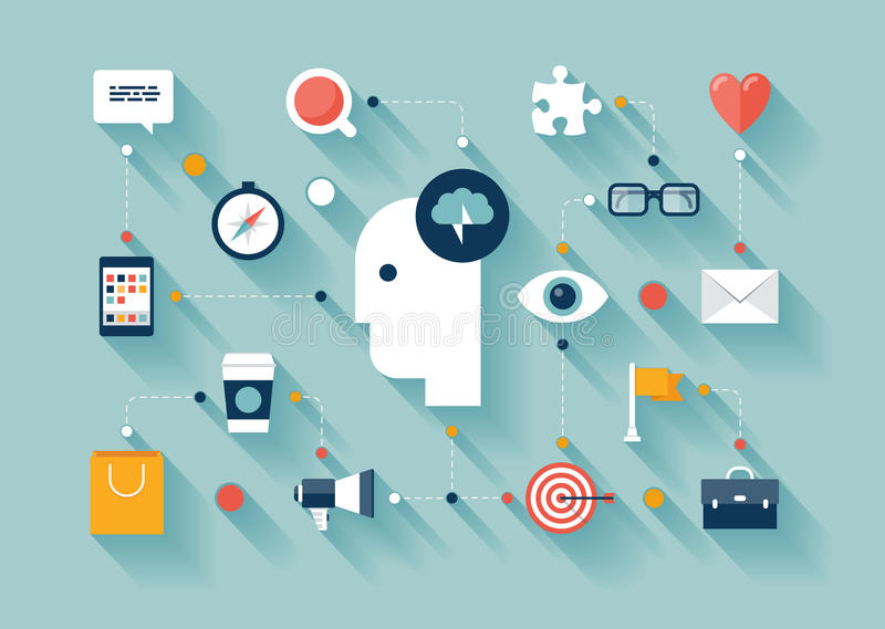 Δημιουργικές ιδέες σκέψης και 'brainstorming' διανυσματική απεικόνιση