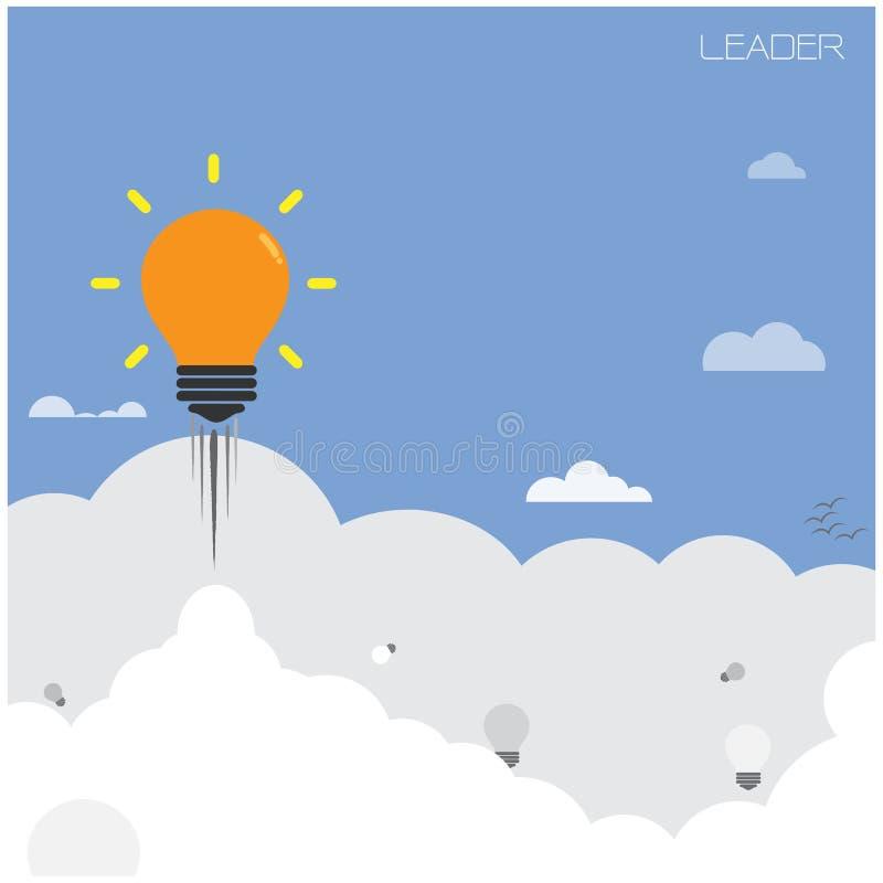 Δημιουργική λάμπα φωτός, έννοια ηγετών διανυσματική απεικόνιση