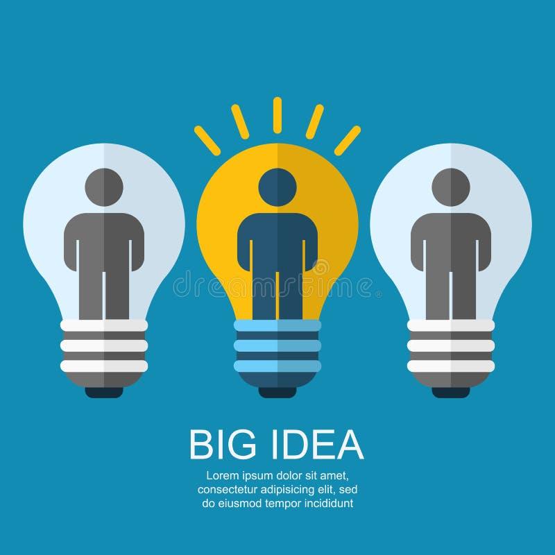 Δημιουργική λάμπα φωτός με τους ανθρώπους, επιχείρηση, κοινωνική, στρατηγική συμπυκνωμένη ελεύθερη απεικόνιση δικαιώματος