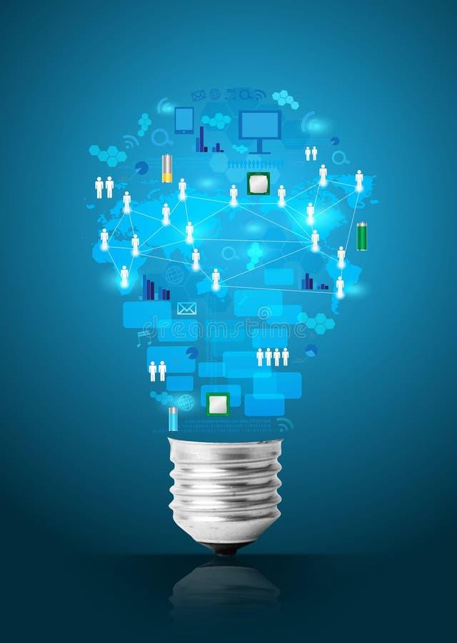 Δημιουργική λάμπα φωτός με το επιχειρησιακό δίκτυο τεχνολογίας διανυσματική απεικόνιση