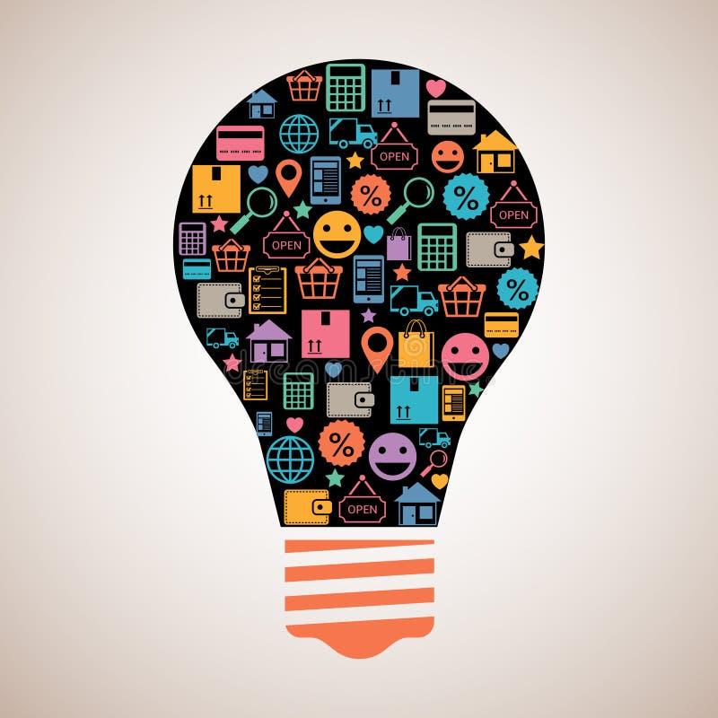 Δημιουργική λάμπα φωτός on-line αγορών ελεύθερη απεικόνιση δικαιώματος