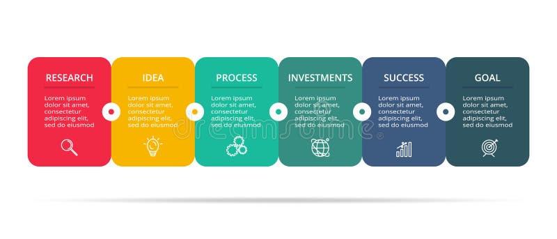 Δημιουργική έννοια για infographic με τα 6 βήματα, τις επιλογές, μέρη ή διαδικασίες Απεικόνιση επιχειρησιακών στοιχείων διανυσματική απεικόνιση