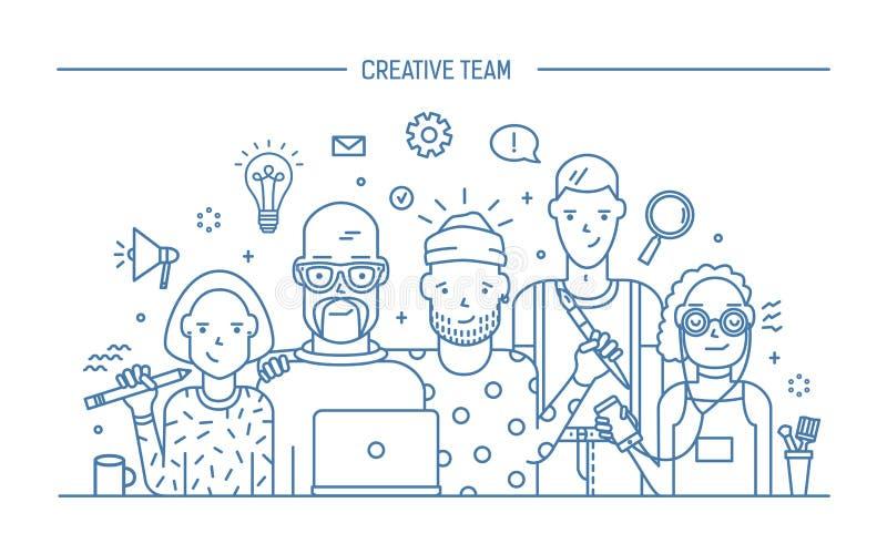 Δημιουργική έννοια επιχειρησιακών ομάδων Έμβλημα με την εντολή ομαδικής εργασίας Νέο βιογραφικό σημείωμα σχεδιαστών, κοριτσιών κα διανυσματική απεικόνιση
