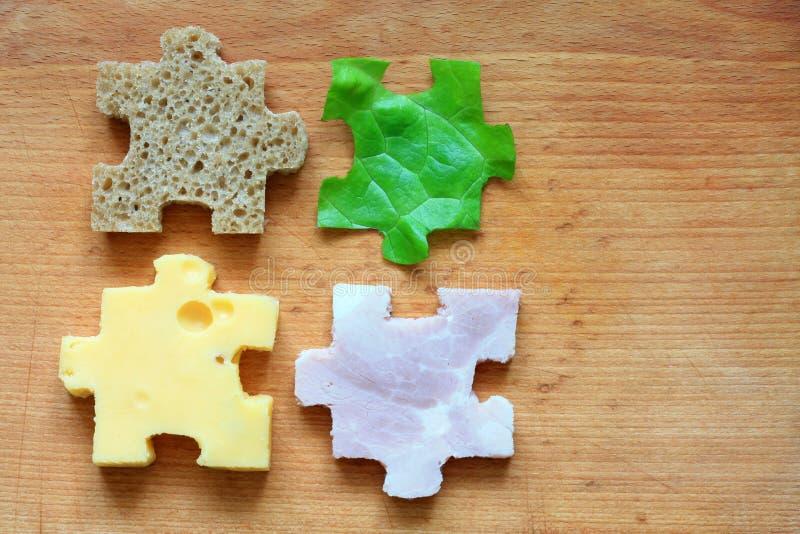 Δημιουργική έννοια διατροφής συστατικών γρίφων τροφίμων στοκ φωτογραφίες με δικαίωμα ελεύθερης χρήσης
