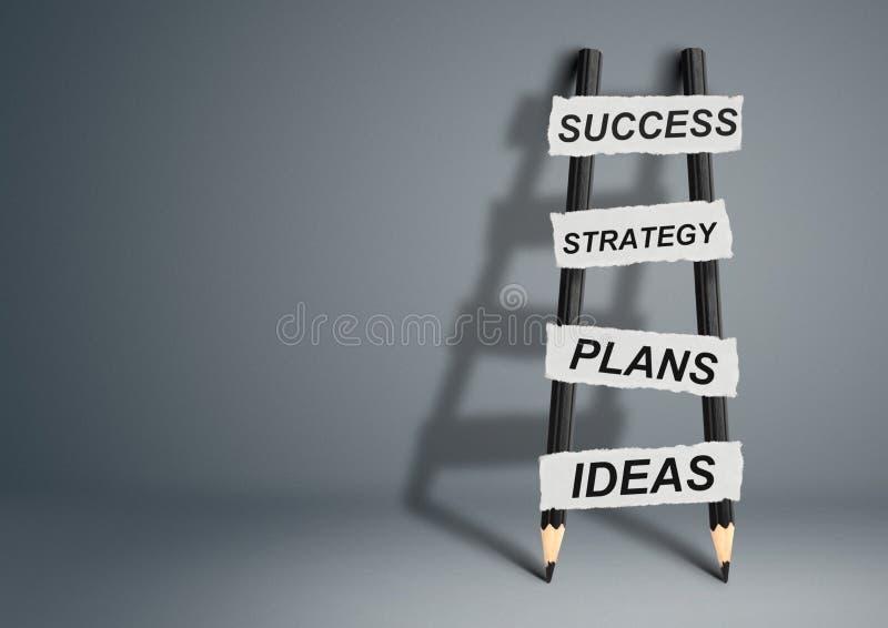 Δημιουργική έννοια ιδέας επιτυχίας, σκάλα μολυβιών με το διάστημα αντιγράφων στοκ φωτογραφίες