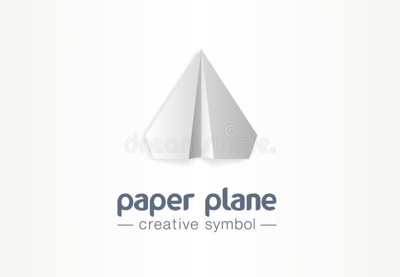 Δημιουργική έννοια συμβόλων αεροπλάνων εγγράφου Πτήση μηνυμάτων επιστολών στο βέλος επάνω στο αφηρημένο επιχειρησιακό λογότυπο αε διανυσματική απεικόνιση