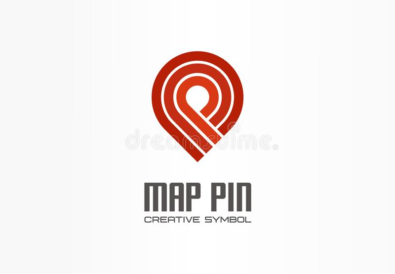 Δημιουργική έννοια συμβόλων ναυσιπλοΐας καρφιτσών χαρτών Τελειώστε το αφηρημένο λογότυπο επιχειρησιακών μεταφορών δεικτών θέσης Π απεικόνιση αποθεμάτων