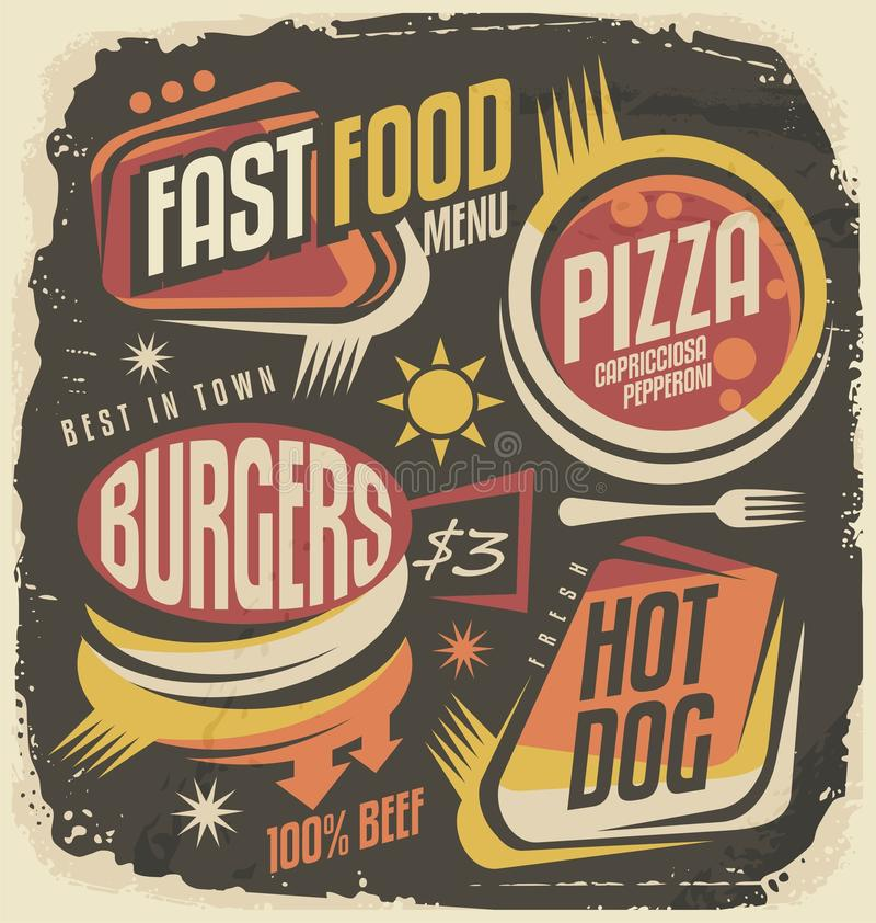Δημιουργική έννοια σχεδίου επιλογών εστιατορίων γρήγορου φαγητού ελεύθερη απεικόνιση δικαιώματος