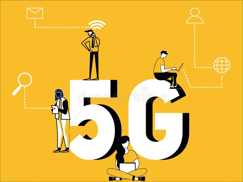 Δημιουργική έννοια του Word 5G και άνθρωποι που κάνουν τις τεχνικές δραστηριότητες διανυσματική απεικόνιση