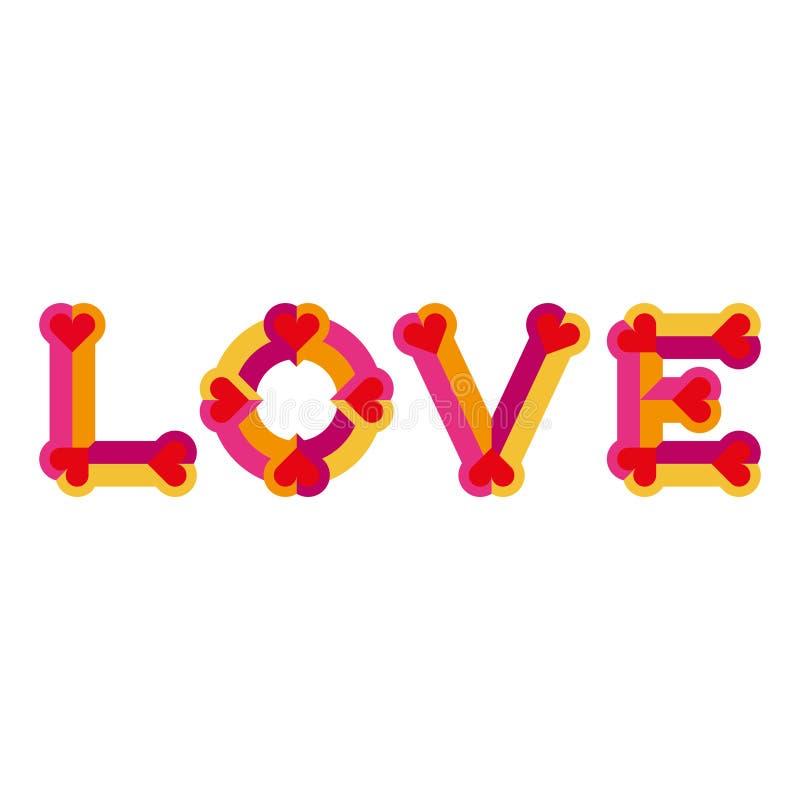 Δημιουργική αγάπη logotype Αγάπη αρχική ΚΑΠ διανυσματική απεικόνιση