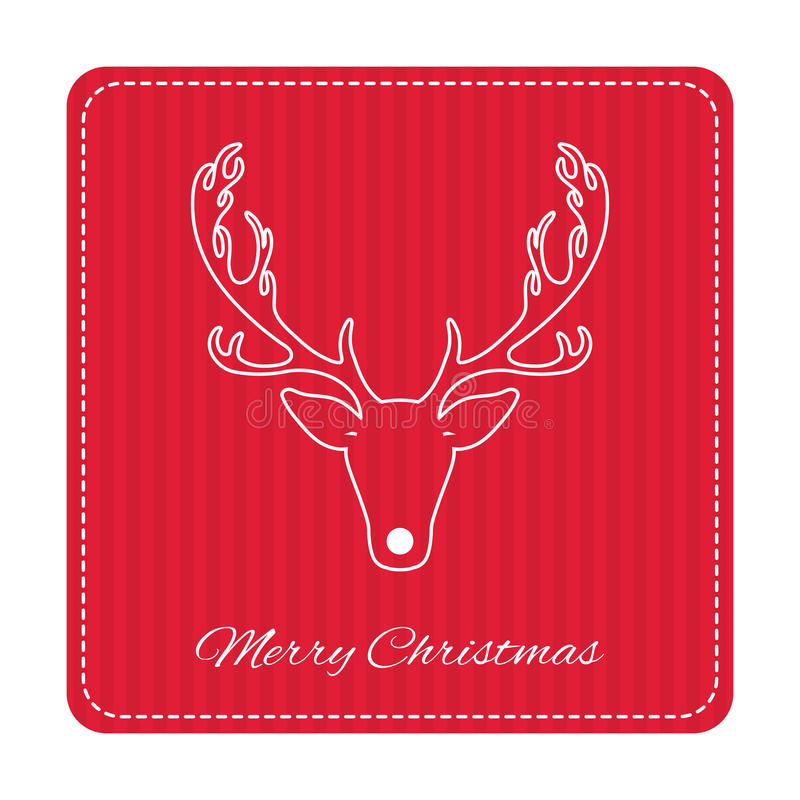 Δημιουργική αναδρομική ευχετήρια κάρτα Χαρούμενα Χριστούγεννας Αστεία ελάφια Hipster διανυσματική απεικόνιση
